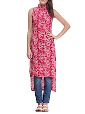 Red Cotton Highlow Kurta - By