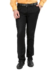 black polyester flat front trousers formal -  online shopping for Formal Trousers