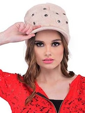Beige Polyester Cap - By - 12484389