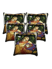 Homefab India 3D Design Set Of 5 Cushion Covers (16X16 Inches) - By