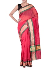 Red Banarasi Saree With Gold Border - By