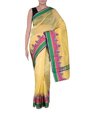 Yellow Banarasi Saree With Multicoloured Border - By