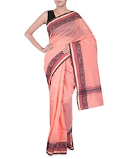Peach Banarasi Saree With Floral Border - By