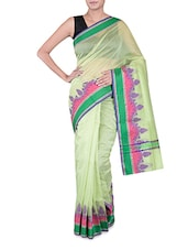 Green Banarasi Saree With Multicoloured Border - By