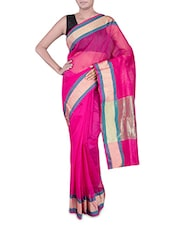 Pink Banarasi Saree With Gold Border - By