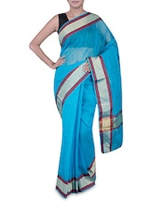 Blue Banarasi Saree With Gold Border - By