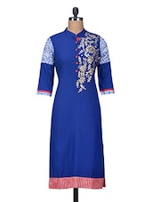 Blue Printed Cotton Zardosi Embroidered Kurta - By