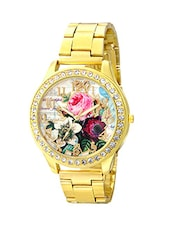 Geneva Collection Multicolor Floral Dial Golden Analog Watch for Women-GNV-0023 -  online shopping for Wrist watches