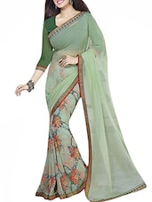 green georgette printed saree -  online shopping for Sarees