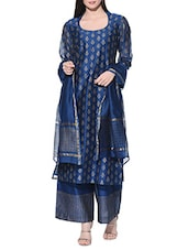 blue chanderi salwar suits stitched suit -  online shopping for Stitched Suits