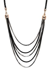 Black And Silver Multi Layered Necklace - By