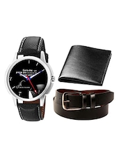 Analogue Watch With Leather Wallet And Belt -  online shopping for Watch Combos
