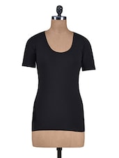Solid Black Cotton Spandex Top - By