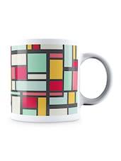 Multicolor Squared Pattern Ceramic Mug - By