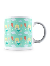 Multicolor Love Hearts With Angels Geometric Pattern Ceramic Mug - By
