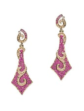 Pink Stone Studded Metallic Earring - By