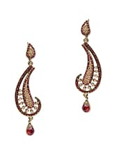 Red Stone Studded Metallic Earring - By