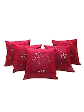 Embroidery Booti Design 5 Pc Red Cushion Cover Set 504 - By
