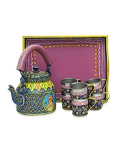 Dark Blue And Mauve Painted Tea Set - By