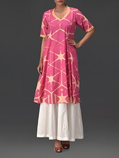 Abstract Printed Pink Cotton A-Line Kurta - By