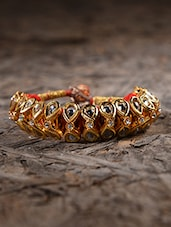 Polki Stone Embellished Gold Bangle - By