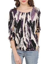 multicolored printed crepe balloon straight top -  online shopping for Tops