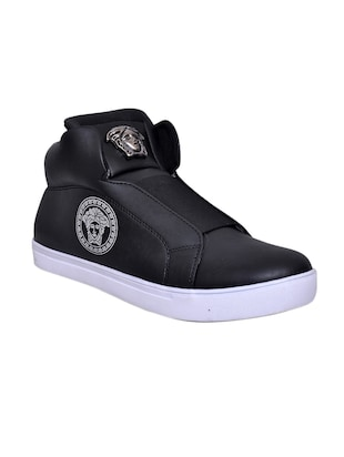black Leatherette sneaker -  online shopping for Sneakers