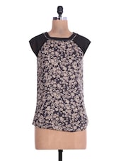 Black And Beige Floral Print Polyester Top - By