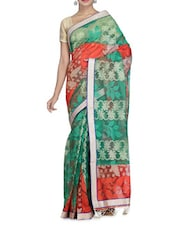 Orange And Green Cotton Silk Sari - By