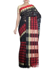Black And Red Cotton Silk Printed Sari - By