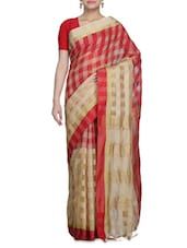 Red And Beige Cotton Silk Printed Sari - By