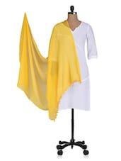 Yellow Plain Pom Pom Faux Chiffon Dupatta - By
