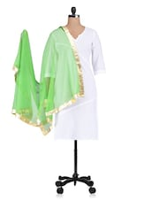 Green Plain Zari Net Dupatta - By
