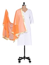 Orange Plain Zari Net Dupatta - By