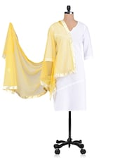 Yellow Plain Zari Net Dupatta - By