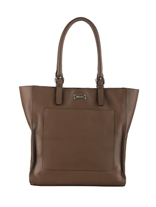 Brown leather tote -  online shopping for Totes