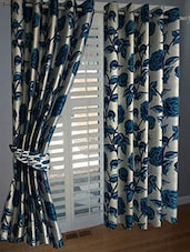 Divine Home Furnishing Blue Floral Poleyester Window Curtain Set Of 2 - By