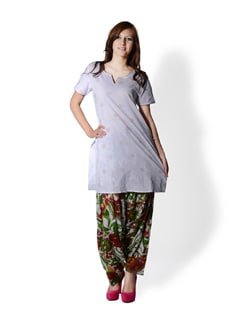 White Floral Patiala Salwar - SHREE