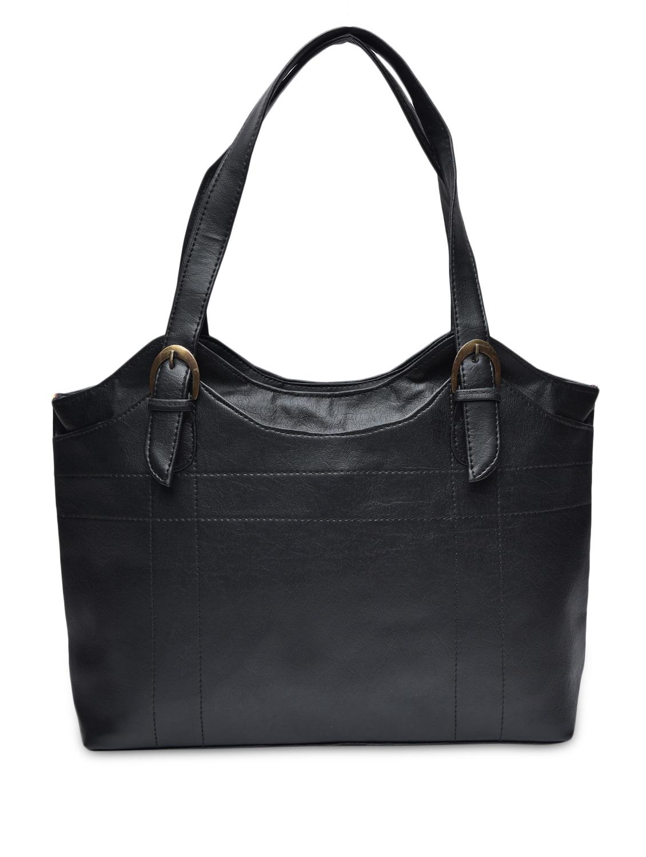 Solid Black Leatherette Handbag - By - 1251704