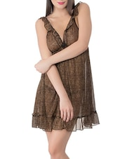 brown printed satin babydoll -  online shopping for Babydolls