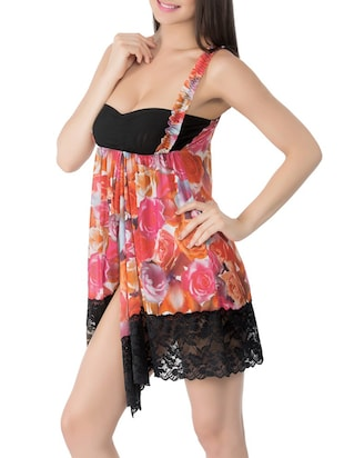 multicolored floral printed satin babydoll -  online shopping for Babydolls