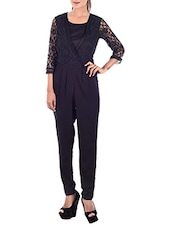 black polyester full leg  jumpsuit -  online shopping for Jumpsuits