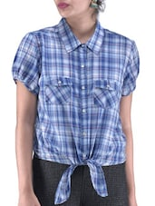 Blue And White Check Print Cotton Shirt - By