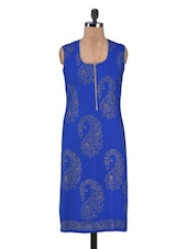 Blue Rayon Printed Kurta - By