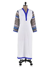 White Printed Poly Georgette Straight Kurta - By