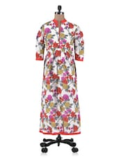 Multi Colour Chanderi Floral Printed Anarkali Kurta - By