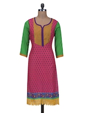 Pink Cotton Printed Straight  Kurta - By