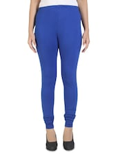 Solid Royal Blue Cotton Leggings - By