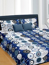 Blue and white printed cotton bedsheet set -  online shopping for bed sheet sets