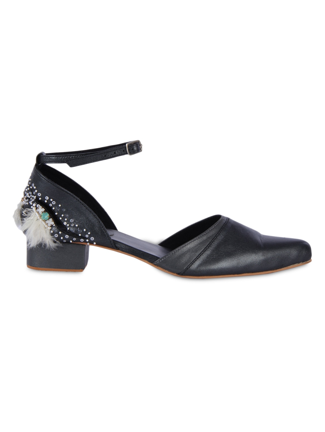 Black Sequined Leather Heels With Buckle Closure - By